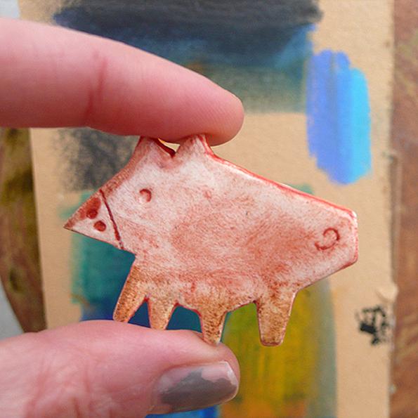 Ceramic Brooch / Porky Pink